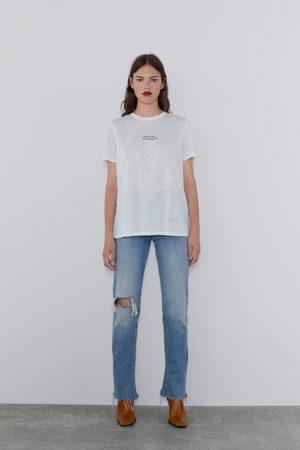 Zara T-shirt linho texto