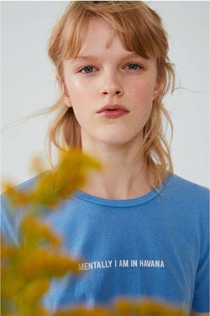 Zara Senhora T-shirts & Manga Curta - T-shirt com efeito lavado e texto
