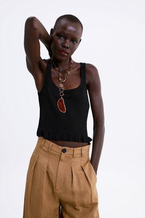 Zara T-shirt cropped com folho