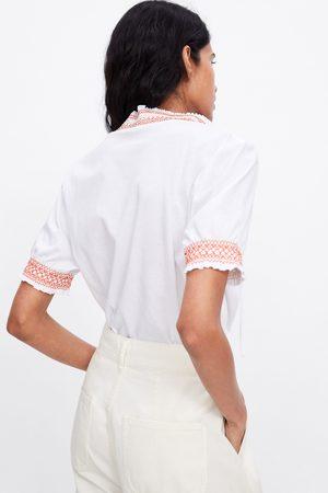 Zara T-shirt com elásticos combinados