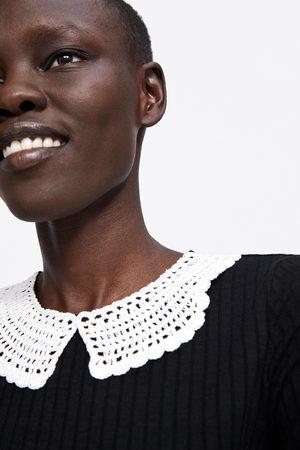 Zara Senhora T-shirts & Manga Curta - T-shirt com gola croché