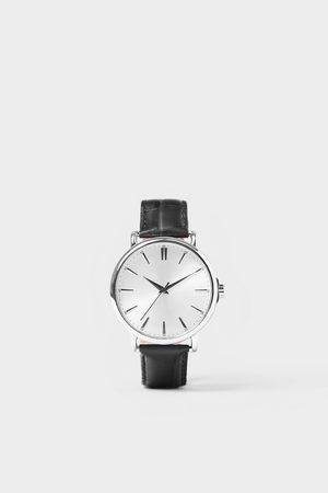 Zara Relógio look vintage pulseira pele preta