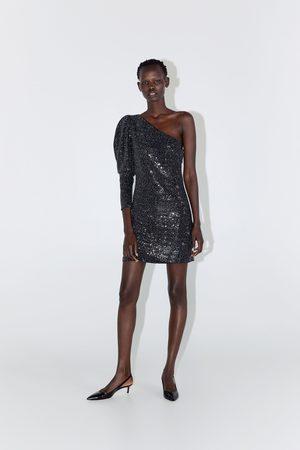 Zara Vestido assimétrico com lantejoulas