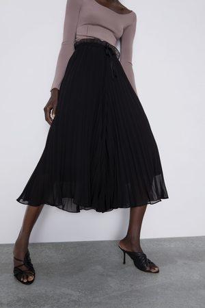 Zara Calças culotte plissadas