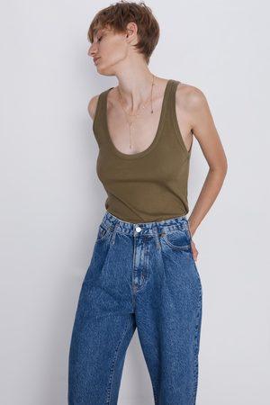 Zara T-shirt alças malha canelada