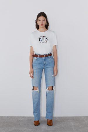 Zara T-shirt estampada com bordados