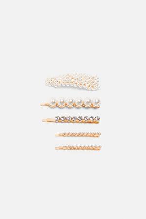 Zara Pack de ganchos com pérolas e brilhos