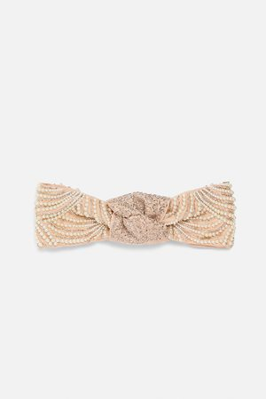 Zara Bandolete turbante com joia e pérolas