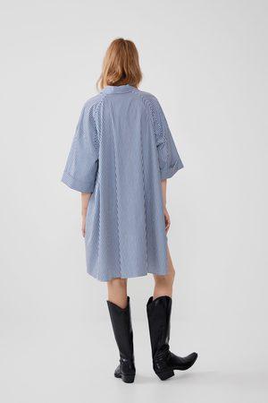Zara Camisa de popelina às riscas oversize