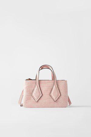 Zara Mini mala tote bag com boca e estampado animal