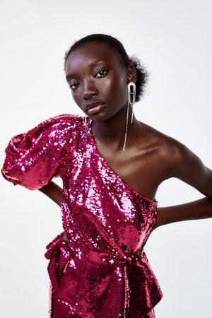 Zara Blusa assimétrica lantejoulas edição limitada