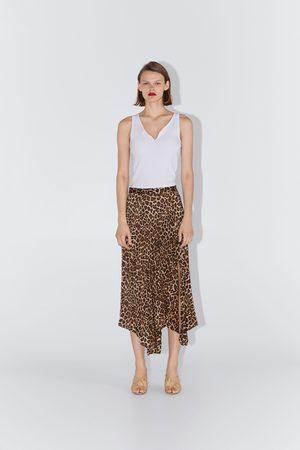 Zara Saia plissada com estampado de animal