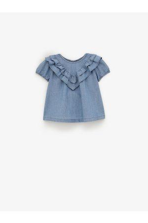 Zara Bebé Formal - Camisa chambray com folho