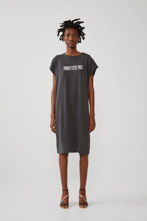 Zara Senhora Vestidos Estampados - Vestido com estampado de texto à frente