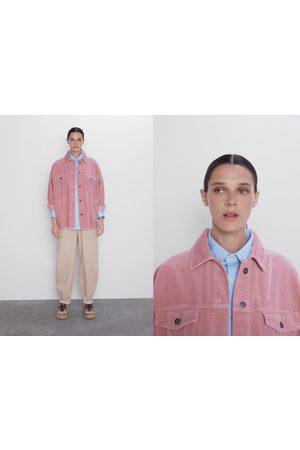 Zara Camisa comprida de bombazina com bolsos