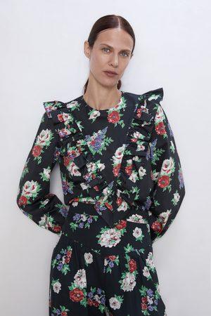 Zara Blusa com print floral e folho
