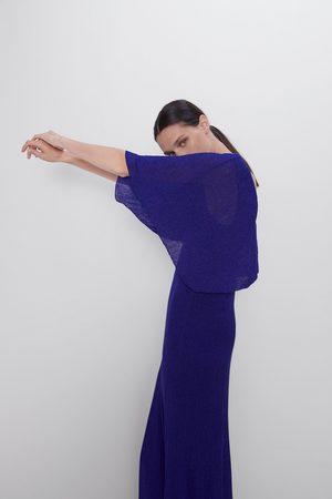 Zara Vestido capa com fio metalizado