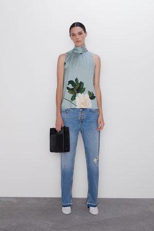Zara Blusa print floral laço