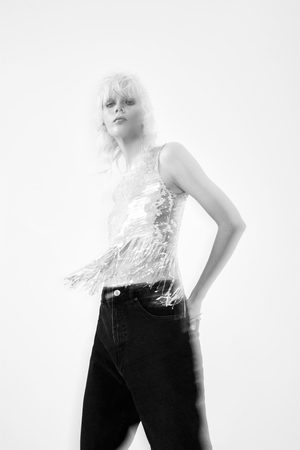 Zara Top com lantejoulas e franjas