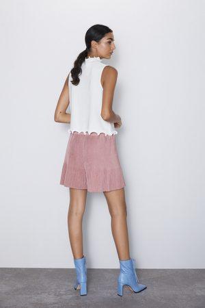 Zara Calções bermuda plissados com efeito de camurça