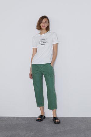 Zara T-shirt texto frontal