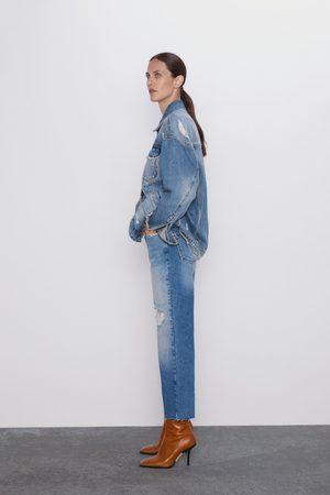Zara Senhora Retos - Jeans z1975 high rise straight cropped com rasgões