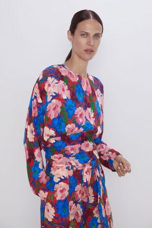 Zara Blusa drapeada com estampado floral