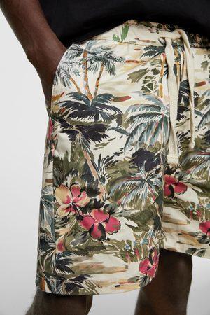 Zara Calções bermuda com estampado tropical