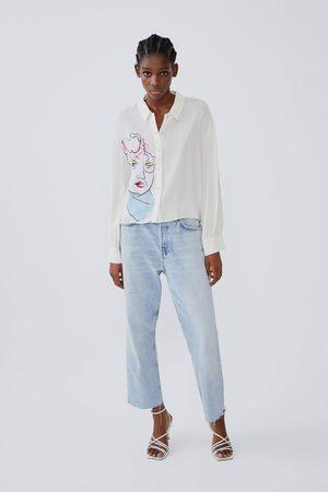 Zara Camisa estampada com volume nas mangas