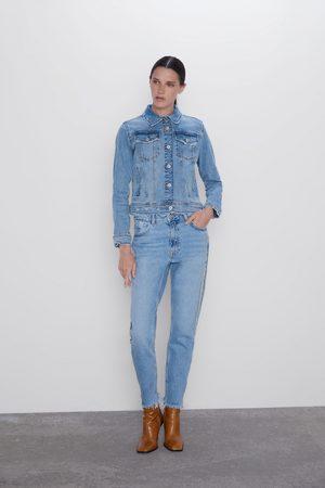 Zara Jeans z1975 mom fit com faixa de joia