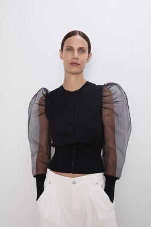 Zara Casaco com manga de volume e organza