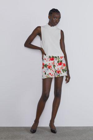Zara Senhora Bermudas - Calções bermuda estampados com folhos