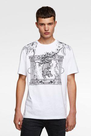 Zara Homem T-shirts & Manga Curta - T-shirt combinada com bordados