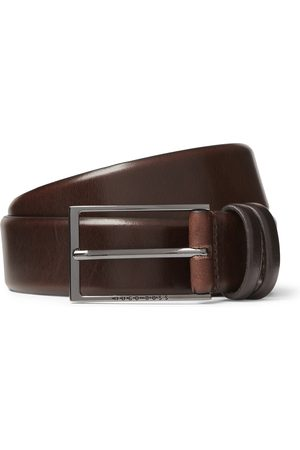 HUGO BOSS 3.5cm Black Carmello Leather Belt