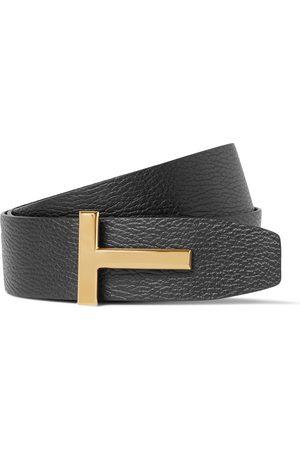 Tom Ford Homem Cintos - 4cm Black And Dark- Reversible Full-grain Leather Belt