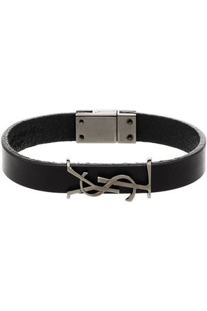 Saint Laurent Leather logo bracelet