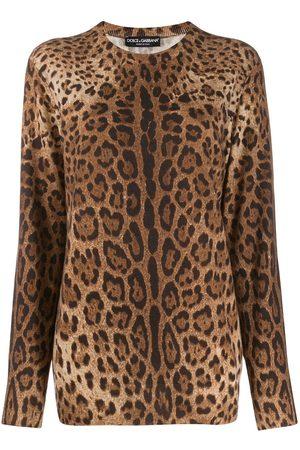 Dolce & Gabbana Senhora Camisolas - Cashmere animal print sweater