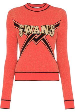 OFF-WHITE Swans intarsia lurex sweater