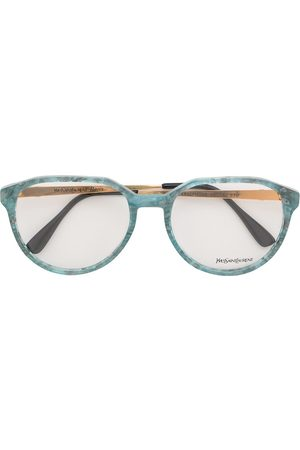 Yves Saint Laurent Marble-effect round-frame glasses