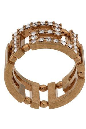 VERSACE Crystal Greek Key ring