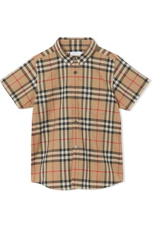 Burberry Menino Manga curta - Check print shortsleeved shirt