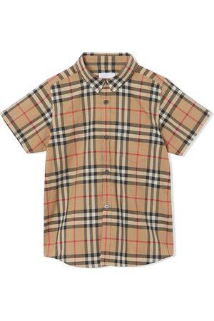 Burberry Menino Manga curta - Check print shortsleeved shirt