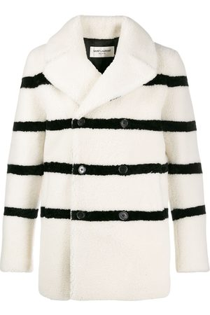 Saint Laurent Striped shearling coat