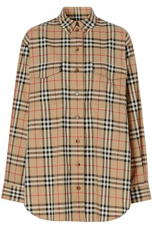 Burberry Senhora Casual - Vintage Check Stretch Cotton Oversized Shirt