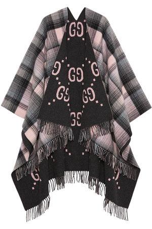 Gucci Senhora Casacos - Poncho in lana GG reversibile