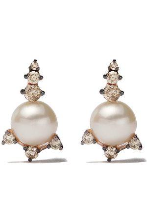 ANNOUSHKA 18kt rose gold diamond embellish stud earrings