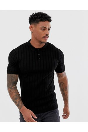 ASOS Knitted ribbed polo shirt in black
