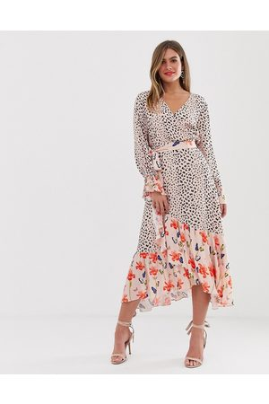 Dark Pink Wrap midi dress in mixed print-Multi