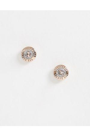 Ted Baker Glitter Mini Button Earrings-Gold