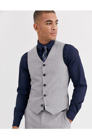 ASOS Wedding skinny suit waistcoat in crosshatch in grey